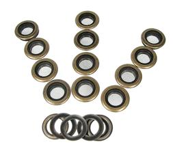 12pc. 1-inch Outside Dia. Screened Antique Brass Grommets w/