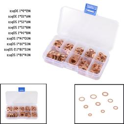 200Pcs M5-M14 Assorted Solid Brass Washers Seal Flat Ring Fi