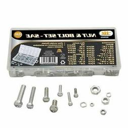 240pc IIT SAE Nuts & Bolts Assortment Washers Hex Machine Au