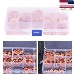 280pcs Assorted Solid Copper Crush Washers Seal Flat Ring Hy