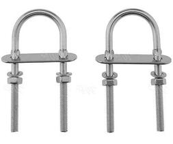 2Pcs 6mm AISI 316 Stainless Steel U Bolts With Plate Nuts an