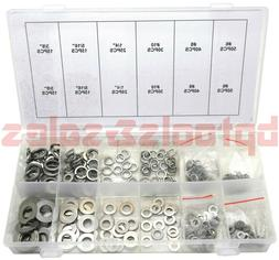 350pc 6 Sizes Stainless Steel Washers Assortment Set w/ Flat
