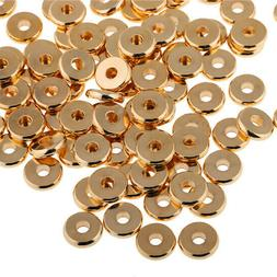 50pcs Gold Solid Brass Disc Spacer Washer beads Flat Spacer