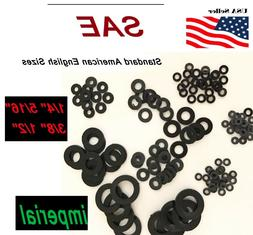 "Black Nylon Washers 1/4 5/16"" 3/8"" 1/2"" SAE Imperial Inch Pl"