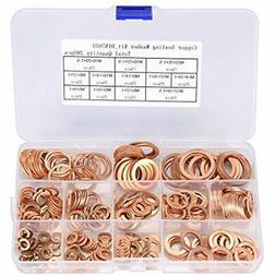 OwnMy Flat Washers 280Pcs 12 Sizes Brass And Lock Assortment
