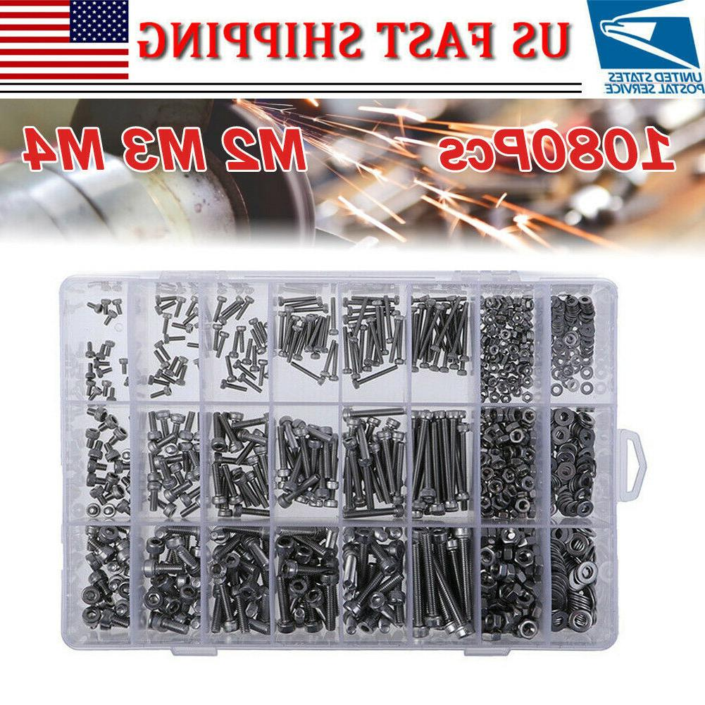 1080 Piece Bolts Nuts And Washer Metric Screw Cap Assortment Kit with Containers