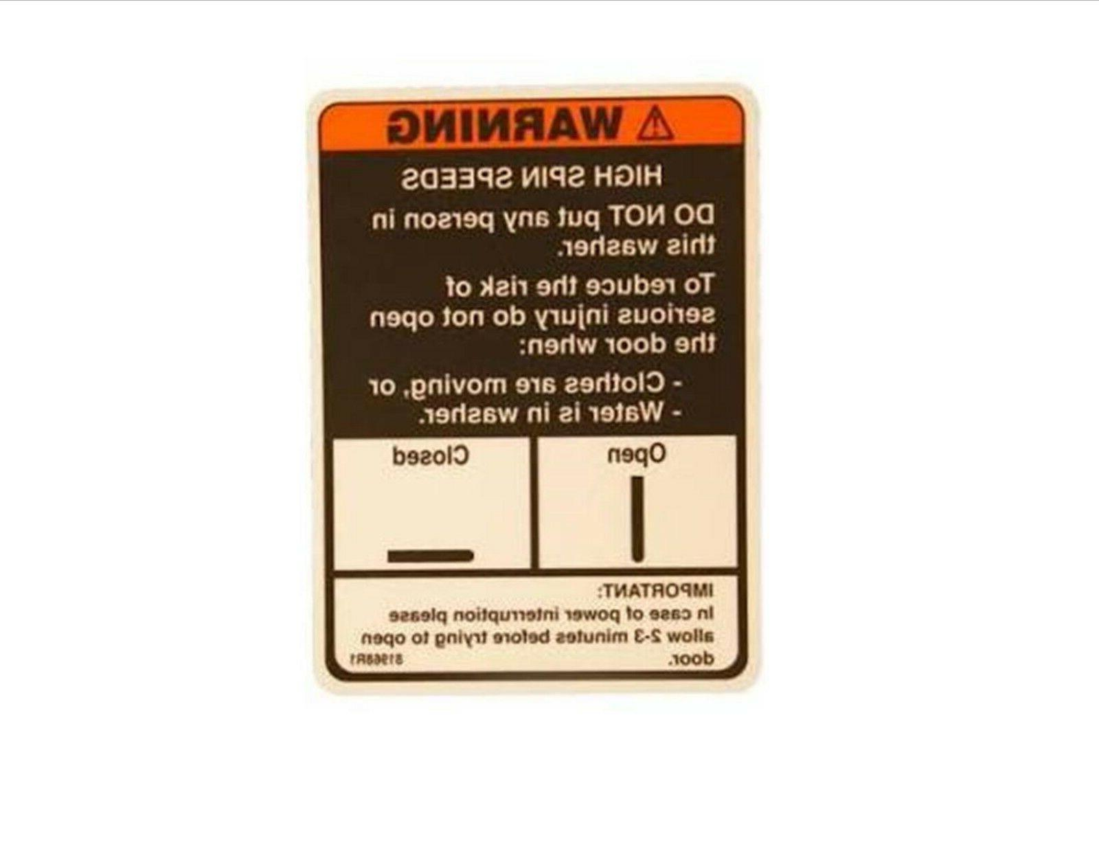 81968r1 washer door warning decal alliance laundry