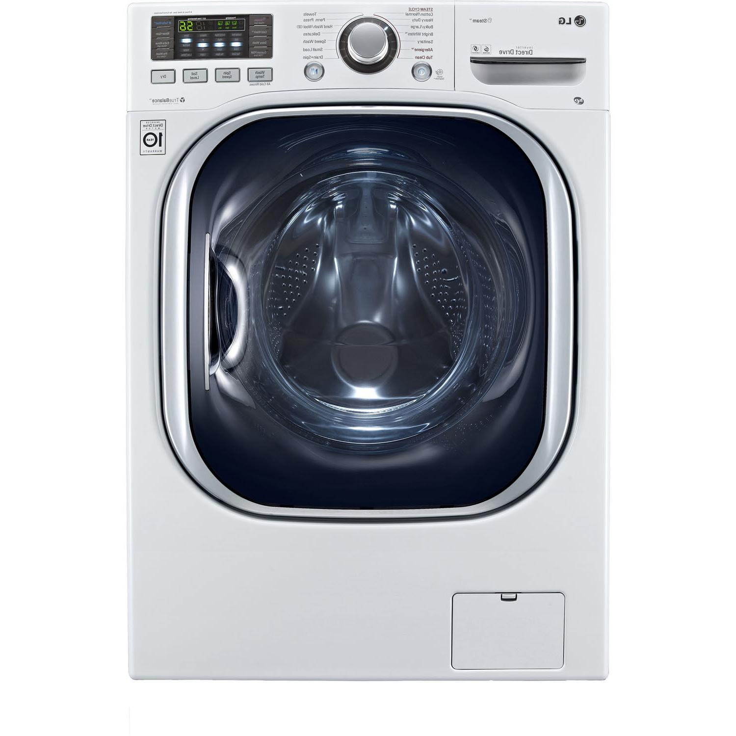 LG Cu. Ft. Washer/Dryer TrueBalance Stainless Steel Drum, Cycle in White