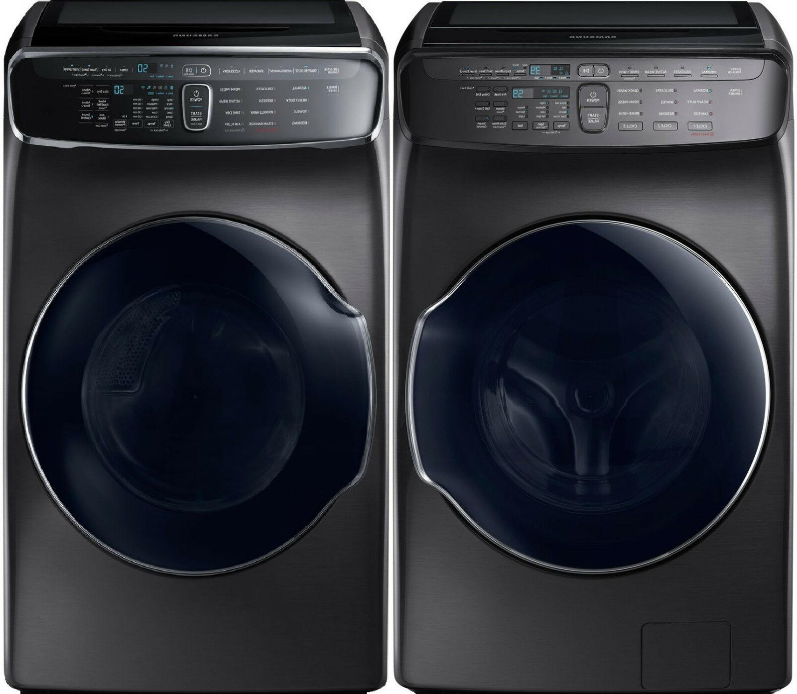 black stainless flex washer and gas dryer